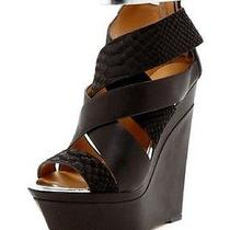 l.a.m.b Womens Dove Black & Silver  Leather Ankle Booties Wedge - Size 9  M Us Photo