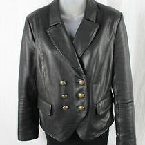 l'agence Women's Black Lamb Leather Double Breasted Jacket Blazer Size 4 Photo