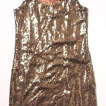 (L) Anthropologie Laquette Bronze Sequin Sequinned Sheath Party Cocktail Dress  Photo