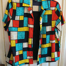 L Blousetop  2 Piece Look Set Notations Aqua Black Blue Red Yellow  Photo