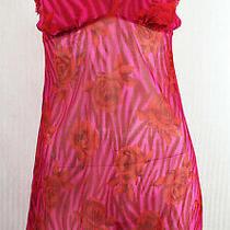 L Cosabella Sheer Red Pink Roses Zebra Print Gather Hem Slip Babydoll Teddy Photo