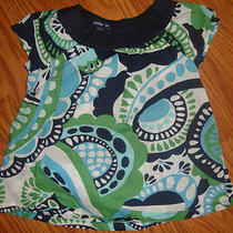 L Girls Bby Gap Mediterranean Batik Retro Green Navy Blue Swing Top Shirt S/s 3t Photo