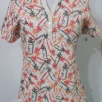 L Ivory Golf Liz Claiborne Polo Top Bags Clubs Print Shirt Nwot Photo