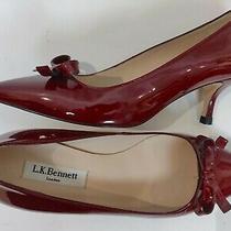 L.k. Bennett 23276 Maroon Patent Leather Bow Kitten Heel Pumps Size 37 / Us 6 Photo