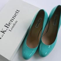 L K Bennett Aqua Patent Leather Maddox Round Toe Jute Wedge Pump Size 37  Us 7 Photo