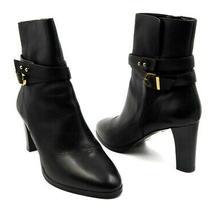 L.k. Bennett Size 40 Black Leather Josie Gold Hardware High Heel Boots Photo