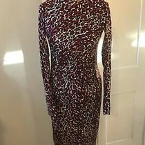 L.k Bennett Size 8 Red/brown Leopard Print Ruched Side Silk Dress - Flattering Photo