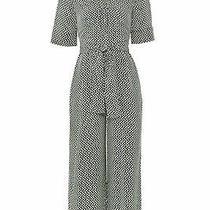 L.k. Bennett Womens Jumpsuit Black Size 14 Dot Print v-Neck Waist Tie 645- 460 Photo