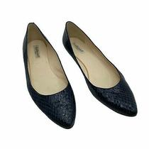 L.k. Bennett Womens Leather Croc Pointed Toe Flats Navy Blue Size 42 11 Photo