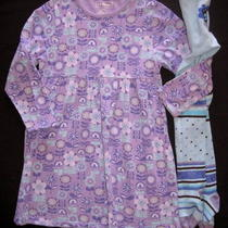 L.l. Bean 5 6 6x Girl Dress Set Outfit Tights Aqua Lavender Knit Cotton Flower Photo