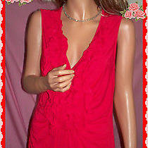L Large Grace Elements Red v Neck Ruffle Pullover Stretch Knit Tunic Top Cute Photo