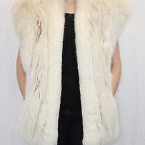 L/large Light Blush Fox Fur Kimono Vest Beautiful W/ Fur Storage Bag Photo
