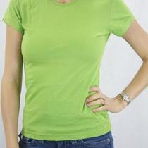 L Nwt Alternative Apparel Top Cotton Soft Jersey Lime Green Cap Sleeve T-Shirt Photo
