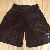 L Under Armour Polyester Soccer Athletic Drawstring Shorts Geometric Black Brown Photo