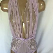 L Victoria's Secret Designer Collection Purple Romper Halter Veil Teddy Large Photo