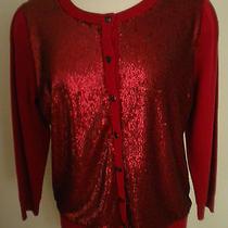 l'wren Scott X Banana Republic Saucy Red Sequin Cardigan Sweater Xs X-Small New Photo