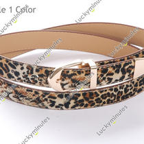 L291 Lady Women Black Leopard Punk Gold Buckle Belt Waistband Photo