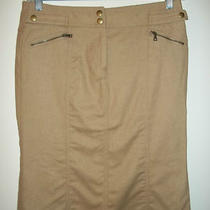 l9) Express Brown Thin Felted Wool Pencil Straight Skirt W/flare Below Knee 8 Photo