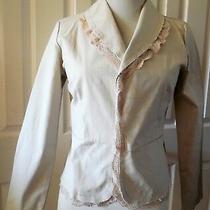 La Bloom Women Open Front Blazer Long Slvs Lace Beige Size S New Photo