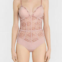 La Perla Elements 34c Bodysuit Teddy Powder Pink Lurex Embroidery 1005 Photo