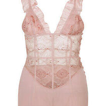 La Perla Elements S Teddy Powder Pink Silk Georgette Lurex Embroidery 1070 Photo