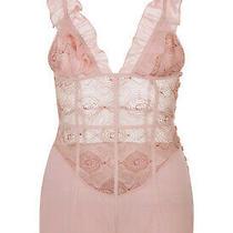 La Perla Elements S Teddy Powder Pink Silk Georgette Lurex Embroidery 1070 Photo