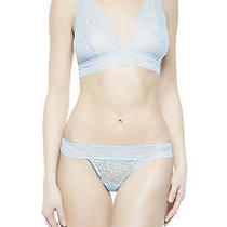 La Perla Soft Cup Bra Thong Set 36b M Blue Sheer Lace New in Gift Boxed Set Photo