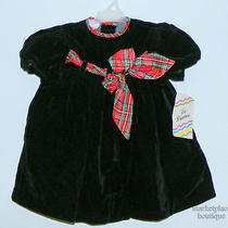 La Princess Black Velvet Red Shine Ribbon New W/ Tags Dress Size 2t Photo