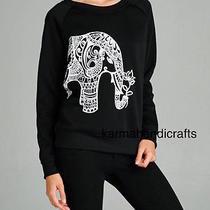 La Soul Hippie Gypsy Hobo Boho Elephant Print Sweater Sweatshirt Jumper Hoodie M Photo