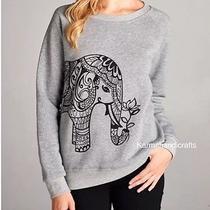 La Soul Hippie Gypsy Hobo Boho Elephant Print Sweater Sweatshirt Jumper Hoodie L Photo