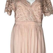 Lace Chiffon Short Dress Size Xl Lulus Brand Pink Blush Short Sleeve Photo