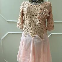 Lace Top Pearl Shear Flowing Bottom Dress Sz M Pink Blush Glamour Skater Easter Photo