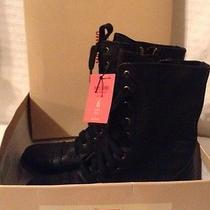 Lace Up Black Faux Leather 'Khalea' Boots/6 Photo