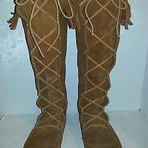 Lace Up Leather Moccasin Boot Fringed Tops Minnetonka Sz 10 Knee High Indian Photo