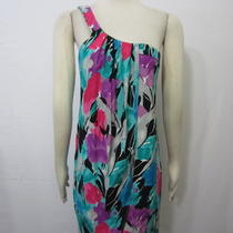 Lacey Parker Aqua Pink Multi-Color Floral Print Draped One Shoulder Dress Sz M Photo