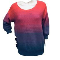 Lacoste 36 Small  Pink Blue Ombre Cotton Sweater Pullover Top Jumper New Photo