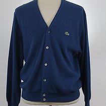 Lacoste - Acrylic Blue Solid Cardigan Sweater - Men's Xl Photo