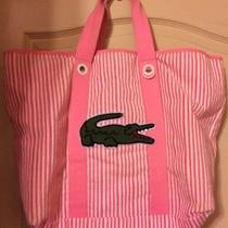 Lacoste Alligator Summer Terry Cloth Logo Tote Pink & White Stripe Bag & Small Photo