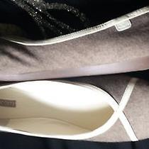 Lacoste Ballet Flats Two Tone Brown Wool Ivory Leather 9.5 Photo