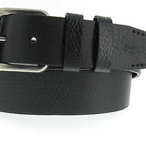 Lacoste Black Textured Leather Antiqued Square Buckle Casual Belt 95 Sz 38 Photo