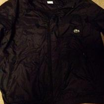Lacoste Black Windbreaker Jacket Water Resistant Large Photo