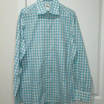Lacoste Blue & White Check Shirt Size 44 Euc Photo