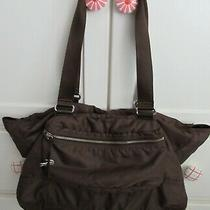 Lacoste Brown Nylon Leather Tote Large Shoulder Bag Chocolate Photo