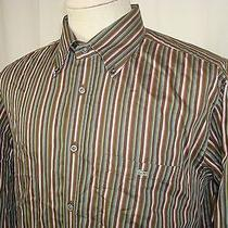 Lacoste Brown Stripped Button Front Long Sleeve Pocket Shirt 45  Photo