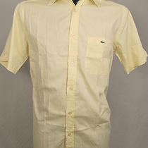Lacoste Button Front Polo Shirt 38 or S Small Short Sleeve S/s Yellow Dress Nice Photo