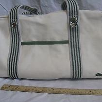 Lacoste Canvas Duffel Tote Gym Artist Overnight Bag Ivory White Green Travel  Photo