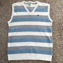 Lacoste Chemise Men's v-Neck Striped Sleeveless Sweater Vest  Size 6  Photo