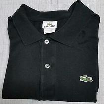 Lacoste Croc Mens Shirt Short Sleeve Golf Polo Half-Button Black Size (7) Large Photo