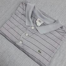 Lacoste Croc Mens Shirt Short Sleeve Gray Golf Polo Half-Button Stripe (9) Xl Photo