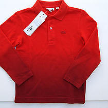 Lacoste Dip Dyed Long Sleeve Polo Sz 6 Youth Boys Red Shirt Photo